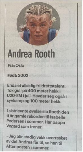Andrea Rooth - faksimile