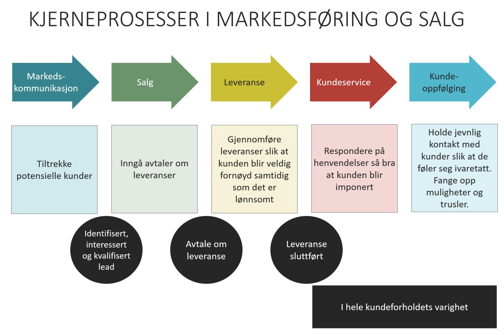 Kjerneprosesser i markedsføring og salg (Stig Hammer).